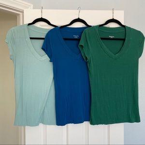 Lot of 3 Merona v-neck tee shirts